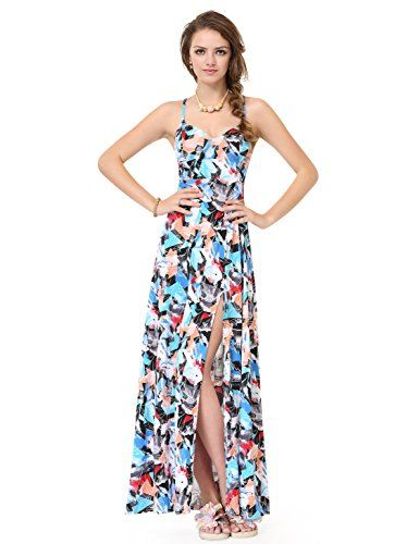 2b6a48b32195a Alisa Pan Womens Floor Length Printed Adjustable Cross Back Maxi Dress 8 US  Multi Color ** For more information, visit image link.