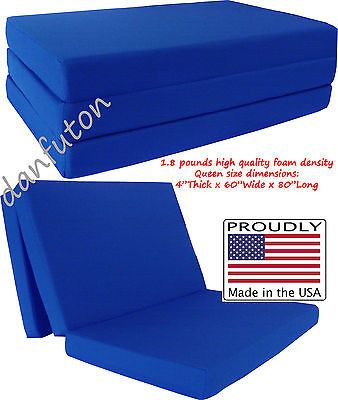 Queen Size Royal Trifold Foam Bed Ottoman Foldable Chair Mattress Floor