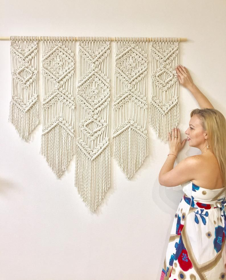 Extra Large Macrame Woven Wall Hanging Decorative Geometric Etsy Woven Wall Hanging Fabric Wall Hanging Fabric Wall