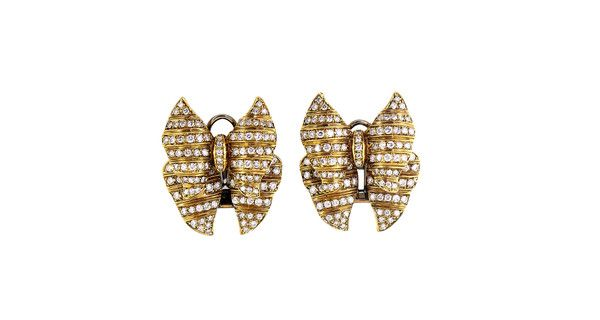 Large Gold And Diamond Erfly Bow Earrings Gleem Co
