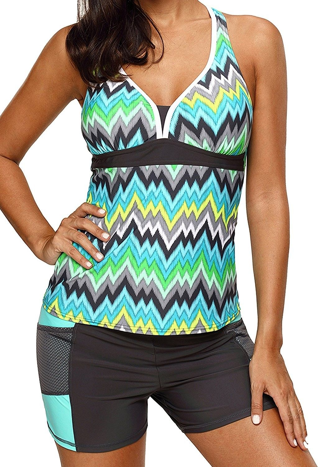 caca9f1ef2 Womens Color Block Printed Racerback Tankini Swimsuits with Shorts S - XXXL  - Green - C8186GRS6AA,Women's Clothing, Swimsuits & Cover Ups, Tankinis  #women ...