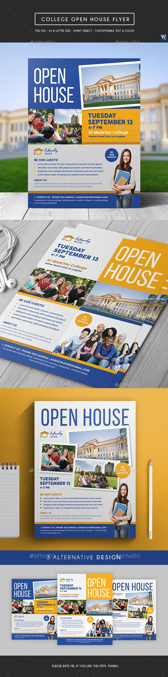 College Open House Flyer  Open House College And Flyer Template
