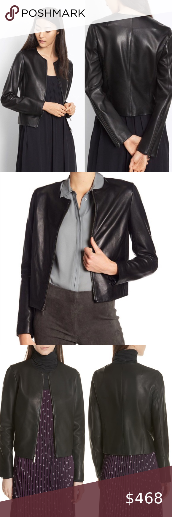 Vince Black Collarless Lamb Leather Jacket L L 12 Details Care Constructed With A Minimum Of Seams To Maximize Lamb Leather Jacket Leather Jacket Collarless [ 1740 x 580 Pixel ]