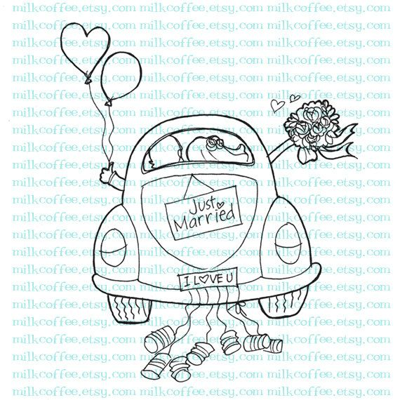 Digital Stamp Just Married Couple At Wedding Car 300 Via Etsy