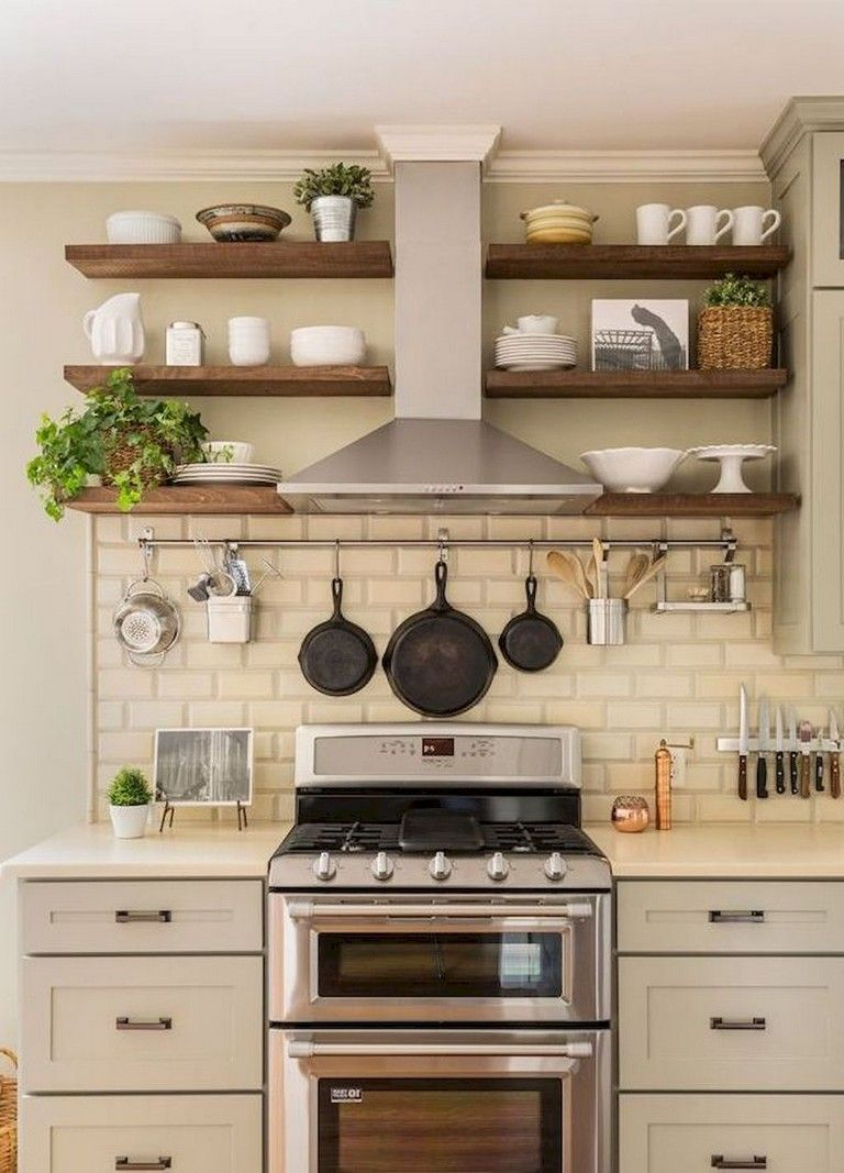 37 Inspiring Diy Small Kitchen Open Shelves Decor Ideas Small