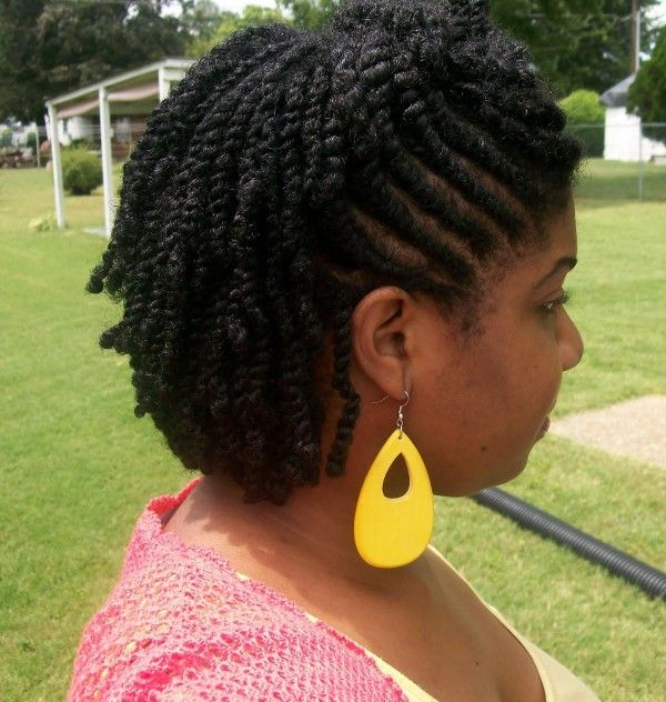 Flat Twists With Kinky Hair Extensions Flat Twist Updo Hairstyles