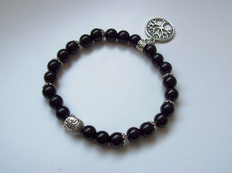 Bracelet homme - Bracelet hommes en perles - Cadeau pour lui - Bracelet agate et argent tibétain - Bracelet yoga chakra ou protection de la boutique Perlesforever sur Etsy