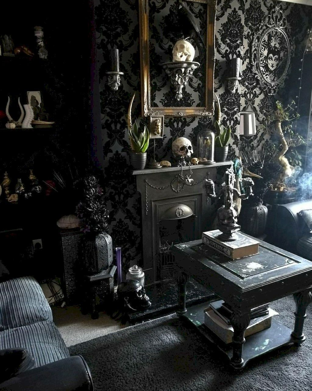 39 Attractive Diy Halloween Living Room Decoration Ideas Gothic