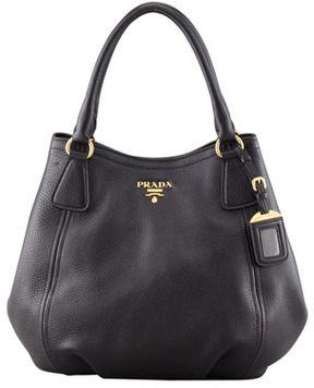 Prada Daino Medium Shoulder Tote Bag, Black on shopstyle.com