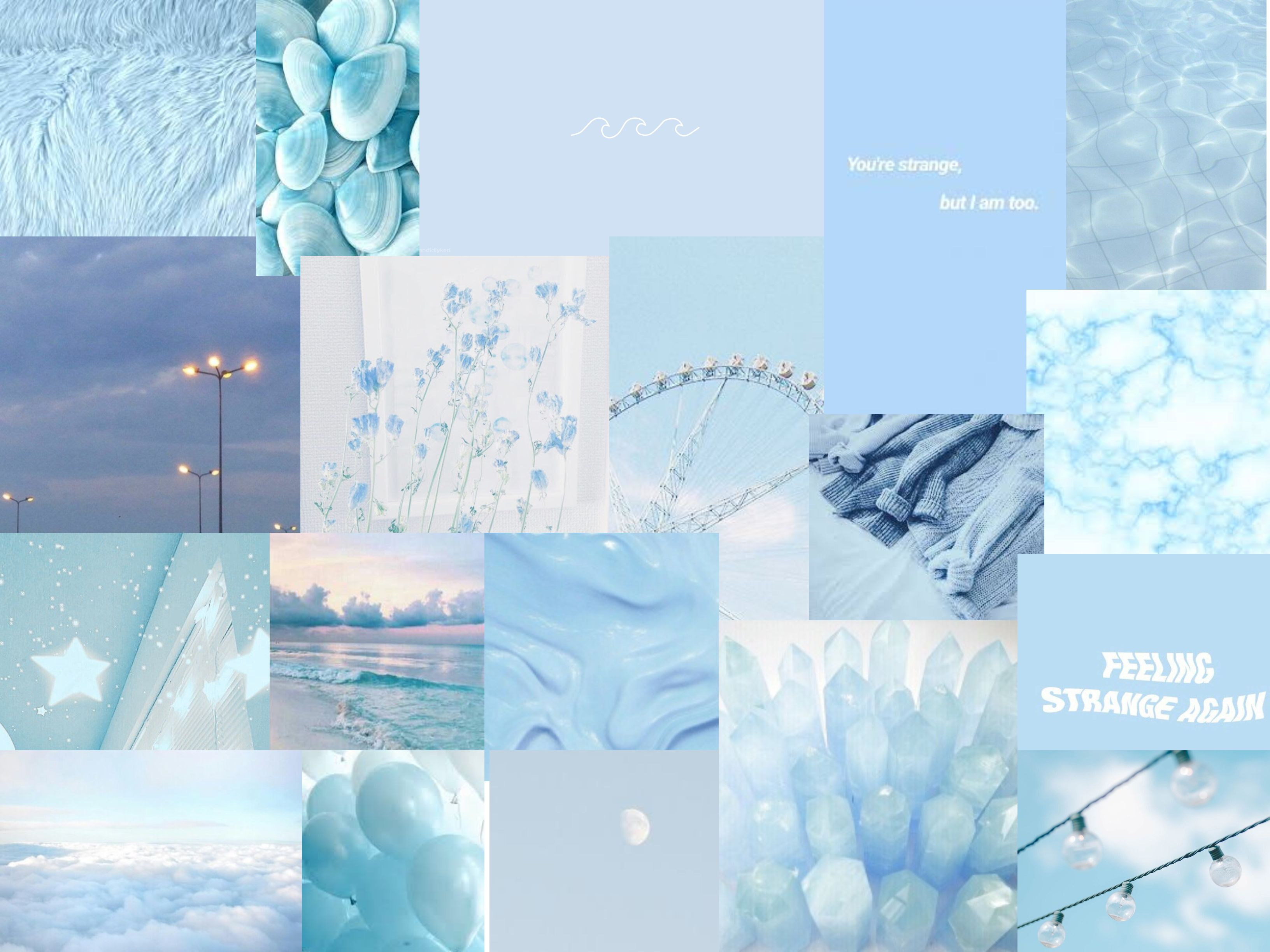 Baby Blue Collage Cute Laptop Wallpaper Aesthetic Desktop Wallpaper Laptop Wallpaper