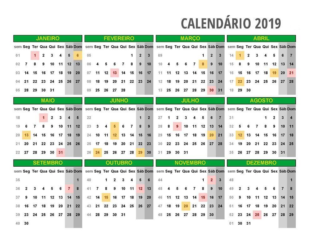 Calendário de Janeiro de 2019 para Imprimir - Calendarr