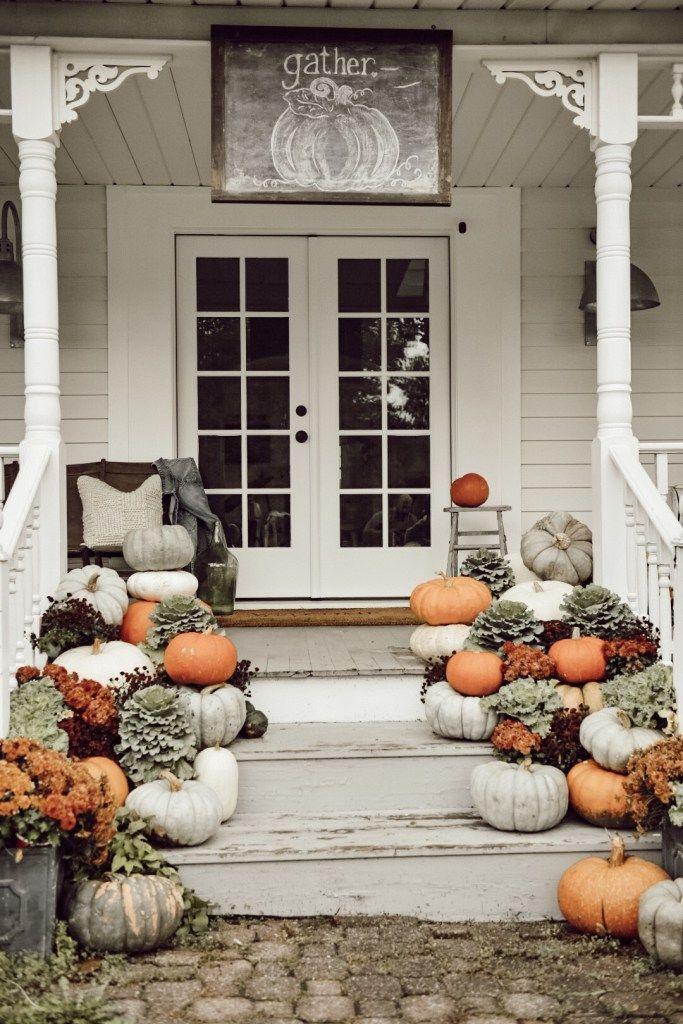 Farmhouse Fall Porch Steps Fall home decor, Porch