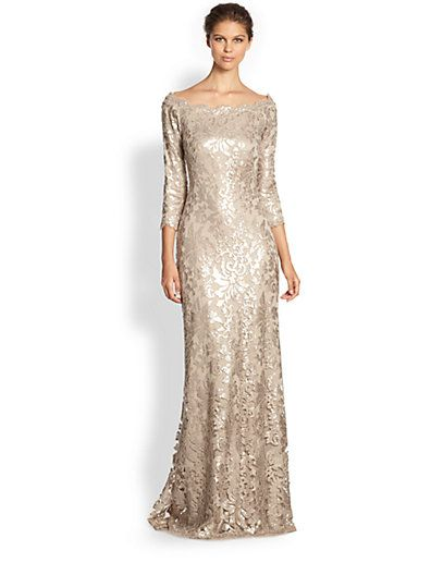 Tadashi Shoji - Sequined Lace Gown - Saks.com | Bee\'s Bridesmaids ...