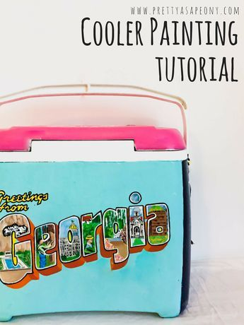 Cooler Painting Tutorial is part of Cooler painting, Sorority coolers, Painted fraternity coolers, Fraternity coolers, Formal cooler ideas, Frat coolers - Happy Monday everybody! I wanted to start the week off with a fun craft post! A really popular thing to do in college now, is to paint coolers as gifts for people  I have done 3 so far, and while they are by no means perfect, I have learned how to do them pretty quick and easy and want to share with you all the details! TOOLS PaintI usually buy mine at Walmart, or if I am buying them at a craft store I print coupons so that I save money (paint can add up!) Paint PensThese are so expensive, so i usually only buy a few in colors that I know I'll be using a ton  For the cooler featured, I bought black and white White Paint Primer Paint BrushesI usually buy the cheap variety pack at Walmart Tracing Paper or Sharpies Sand Paper or Electric Sander Modge Podge or another preferred sealant STEP 1 First, plan what you want for each side  With my first cooler, I only knew what I wanted on one side and just started painting  I ended up being unhappy with the finished product STEP 2 Sand the cooler! It is so tempting to skip this step, however sanding the cooler allows it to absorb the paint better  I prefer using an electric sander because it saves SO much time  STEP 3 After sanding the cooler, wipe it down with a damp cloth, then let it air dry  For the primer, I usually buy a white paint primer spray paint that is made for outdoor furniture  Two to three coats is best  It usually takes a bottle and a half of the primer  The primer should have instructions on it, but typically further away is better, and you want thin, even coats  STEP 4 This is where the tracing paper or sharpies come in  If you are not comfortable free handing your chosen designs, these are a life saver  Print out your design (TIP sometimes the design needs to span across multiple sheets of paper to fit your cooler correctly)  If you are using tracing pap