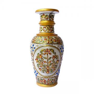 Make your living space and office look fantastic with this glamorous flower vase. Crafted in pure white marble, it is embellished with Meenakari and kundan work that is complemented by expert enamel work.