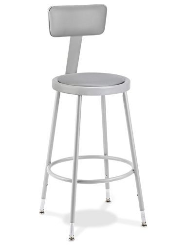 Shop Stool With Backrest   Padded With Adjustable Legs H 4830