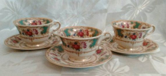 3 Tea Cups and Saucers Old Ivory Syracuse by VintageGlassEscape