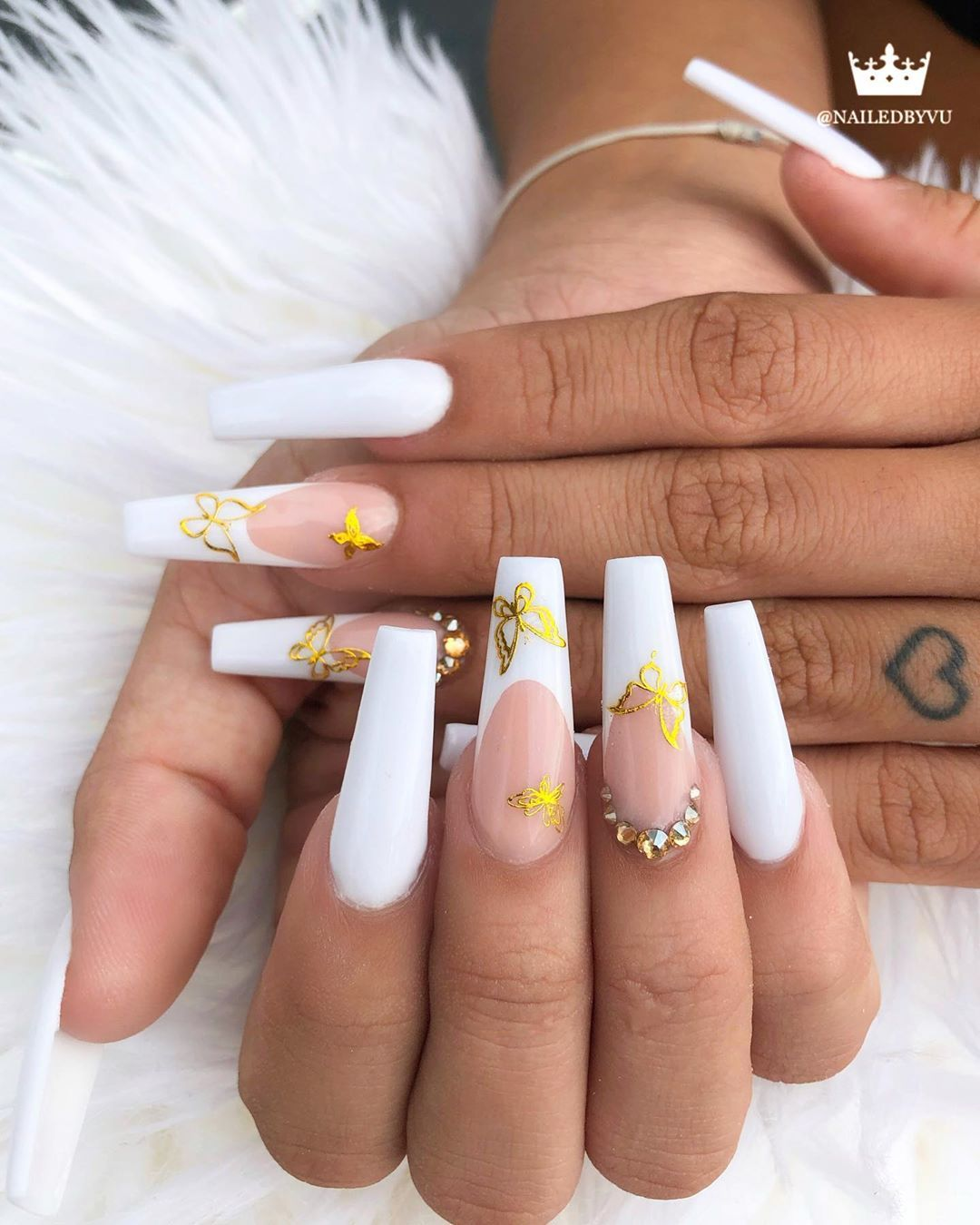 454 Likes 10 Comments Vu Tran Nailedbyvu On Instagram Golden Butterflies On Classic French Using Dch N In 2020 Nails White Tip Nails Blue Acrylic Nails
