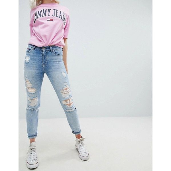 92568c54 Tommy Jeans Izzy High Rise Slim Jean with Exaggerated Rips (201 AUD) ❤  liked on Polyvore featuring jeans, blue, high rise jeans, blue ripped jeans,  ...