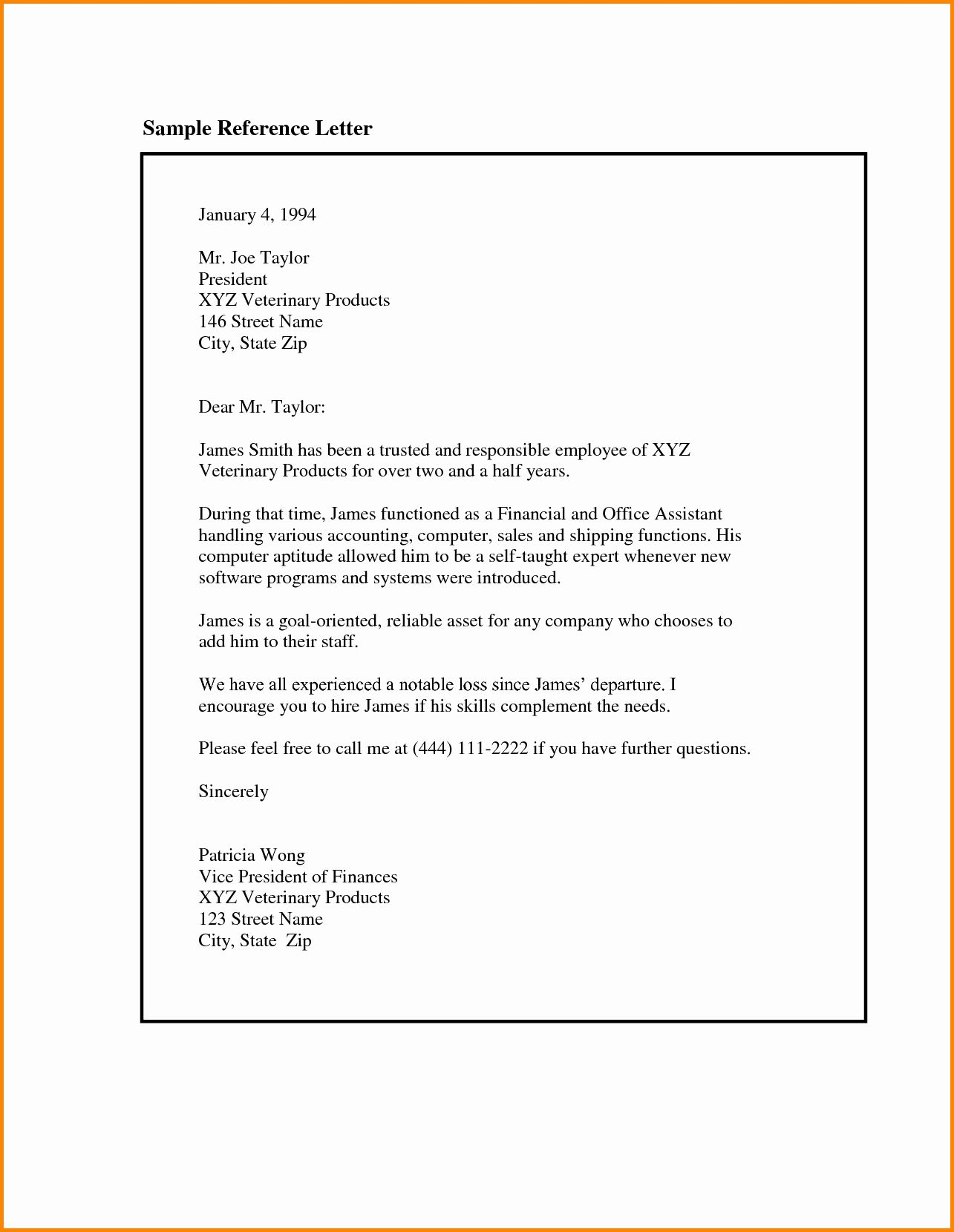 Sample Reference Letter for Employee Inspirational 8