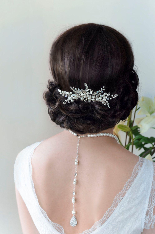 bridal hair comb pearl hair comb wedding hair comb от topgracia