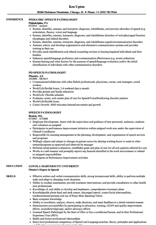 Speech Pathologist Resume Samples In 2021 Resume Examples Resume Good Resume Examples