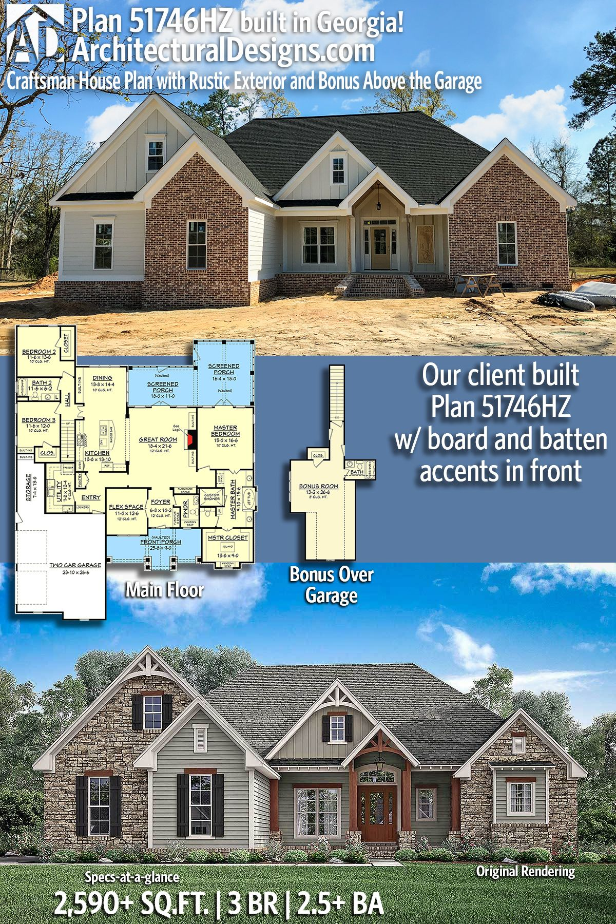 Plan 51746hz Craftsman House Plan With Rustic Exterior And Bonus Above The Garage Craftsman House Plan Craftsman House Craftsman House Plans