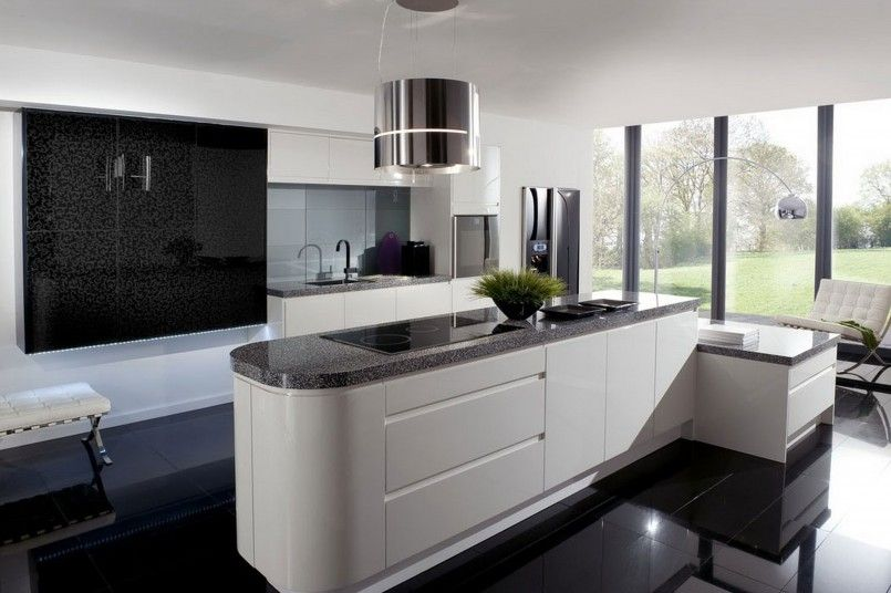 Kitchen Contemporary Black And White Kitchen Design Complete With White High Gloss Kitchen Cabinet As Well As Black Granite Countertop Also Round Chrome Kitchen Pendant Lamp And Modern Chrome Arch Lamp Together With Black Laminated Floor And Natural Lighting Modern Black And White Theme Kitchen Design Inspiration