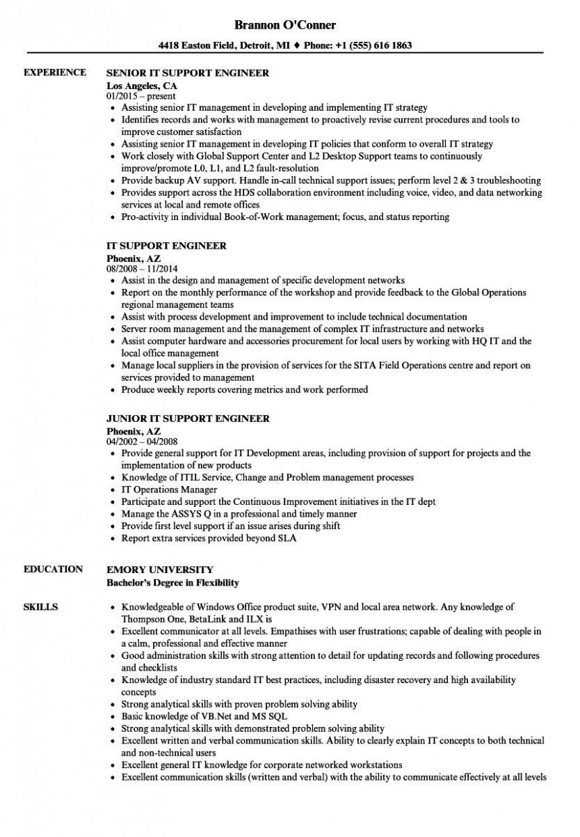 14 Desktop Help Engineer Resume