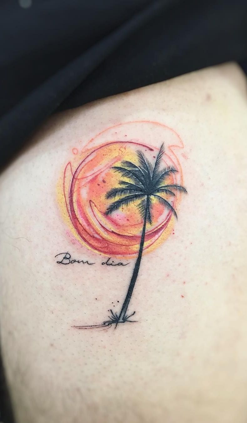 Stunning Watercolor Tattoos By Adrian Bascur Palm Tree Tattoo