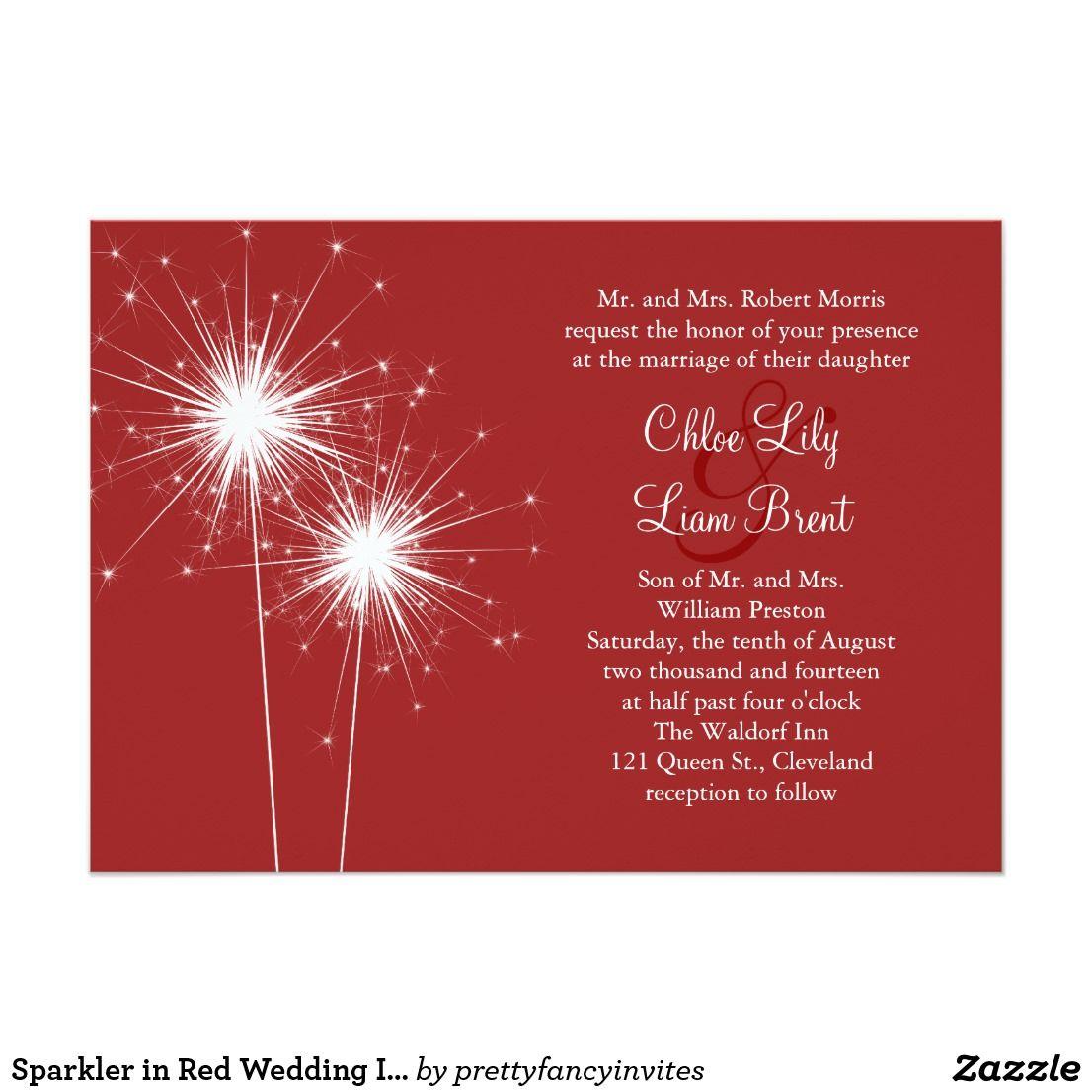 Sparkler in Red Wedding Invitation | Red wedding invitations, Red ...