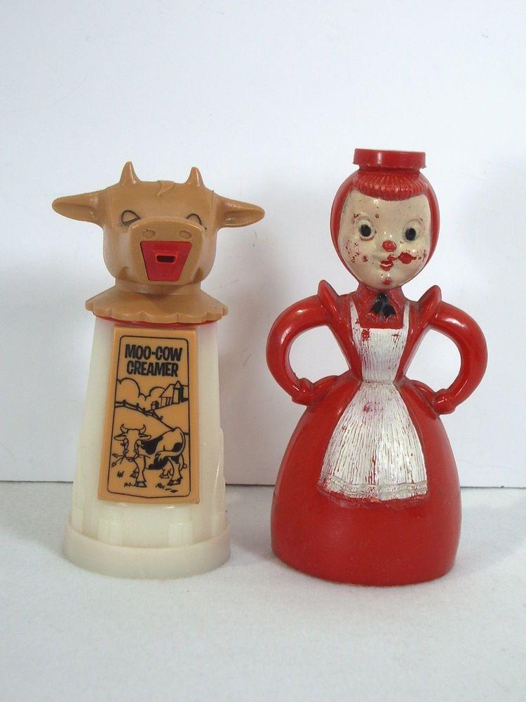 Moo Cow Creamer Woman Sugar Shaker Lot 2 Vintage Kitchen Milk Advertising Dairy