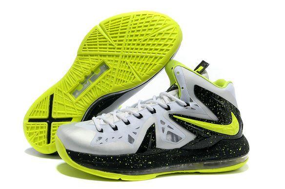 huge discount 29baf 857df Nike Lebron X Elite White Black Fluorescent Green Basketball Shoes