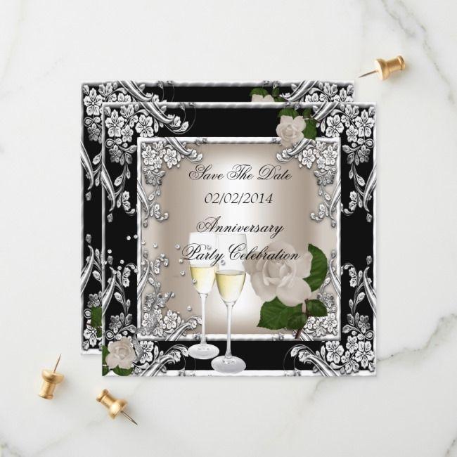 Save The Date Anniversary Wedding Cream Black | Zazzle.com #20thanniversarywedding