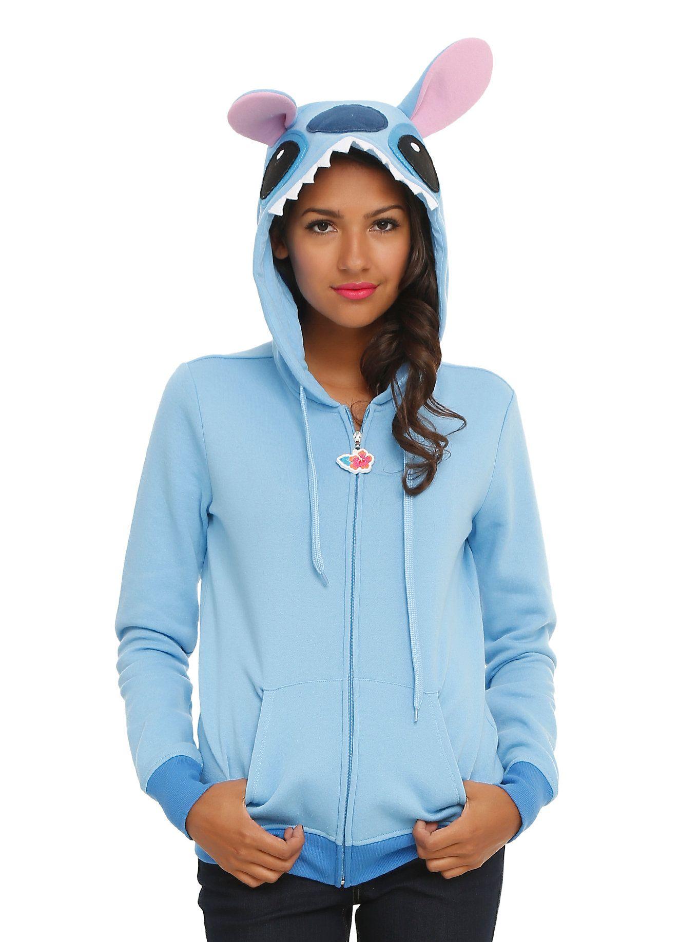 db3f4e34f32d Zip hoodie from Disney's <i>Lilo & Stitch</i> with a fiercely adorable  Stitch cosplay design.<ul><li> 60% cotton; 40% polyester</li><li>Wash cold;  ...