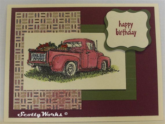 Masculine Card Happy BIrthday For Car Guy With Old Pickup Truck Handcrafted From The Heart By ScottyWorks 300