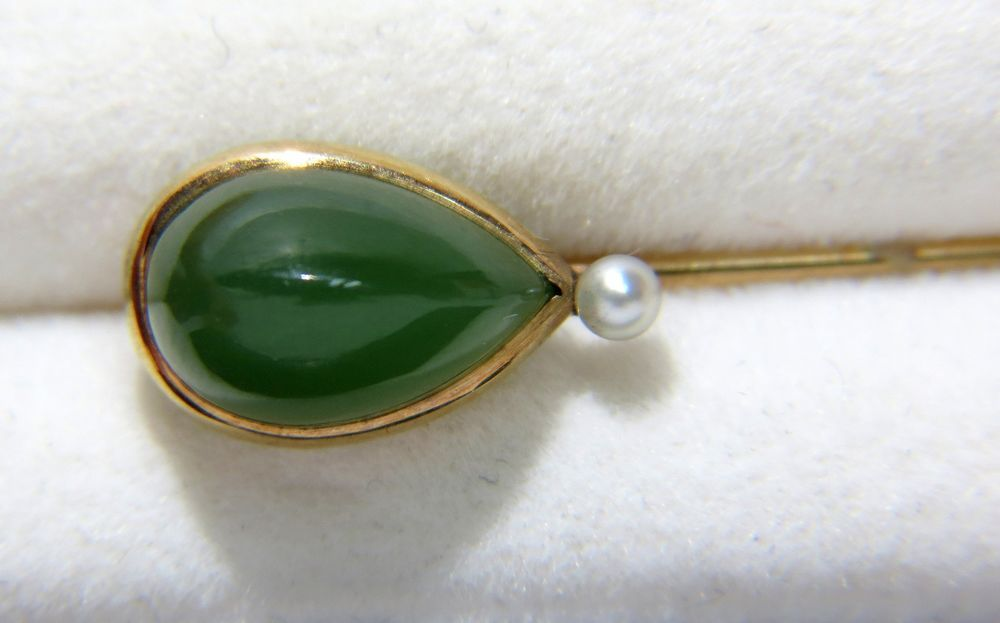 VINTAGE 4.00CT GREEN JADE PEARL HAT PIN MENS 14KT YELLOW GOLD #Unbranded