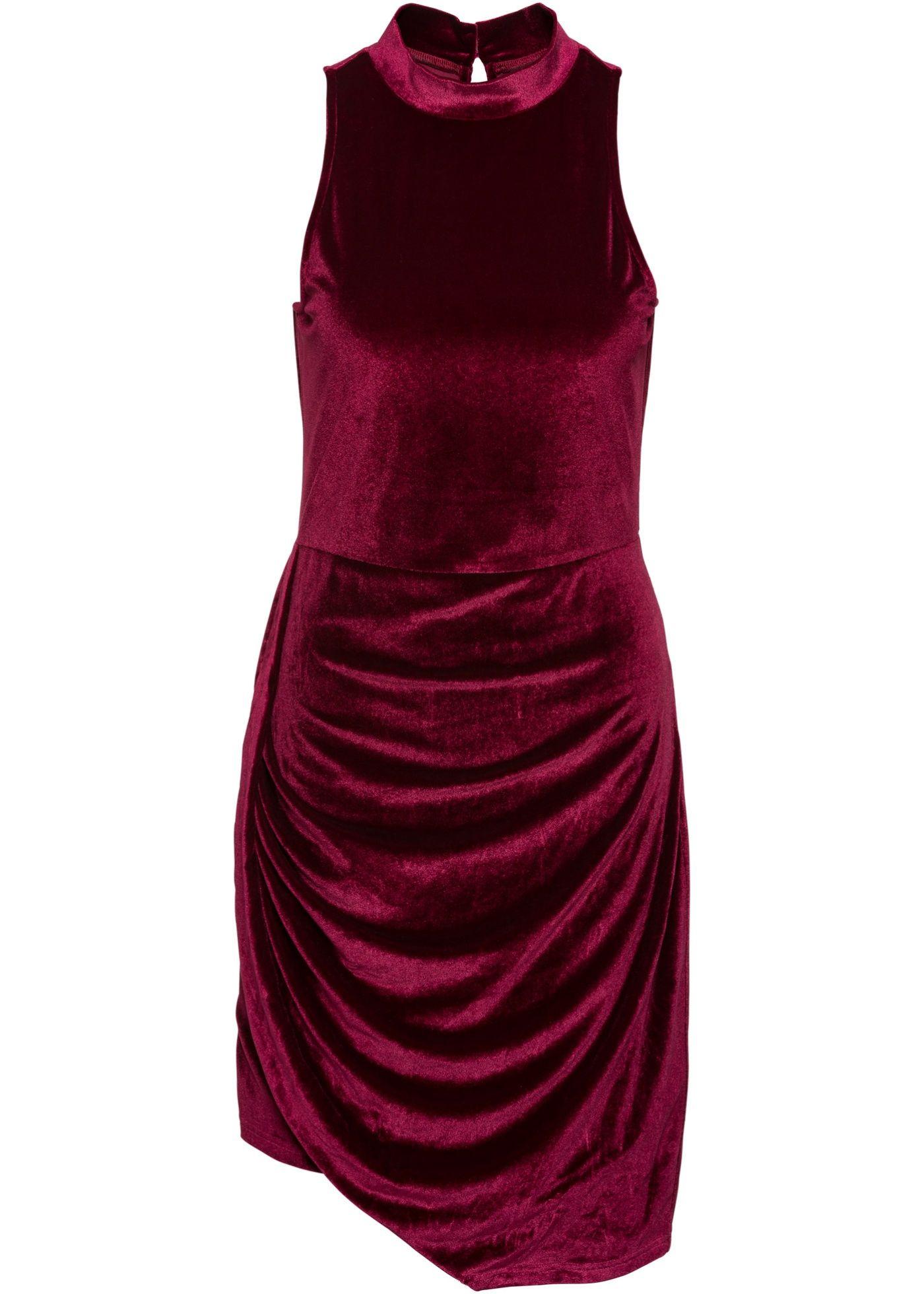 Asymmetrisches Samt-Kleid | Kleid bordeaux, Samt und Futter
