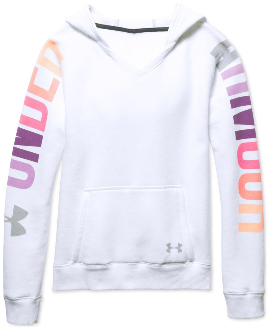 Under Armour Girls Favorite Graphic Print Hoodie Sweaters Kids Baby Macy S Under Armour Girls Under Armour Outfits Under Armour Hoodie