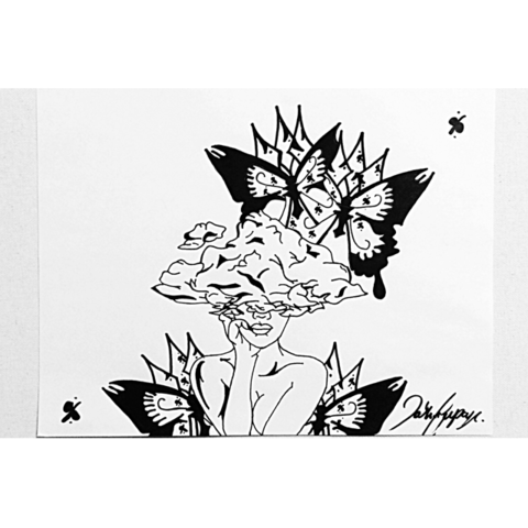 drawing of my heads in the clouds with butterflies // http://babesngents.com/pages/blvkz-profile-interview // #babesngents