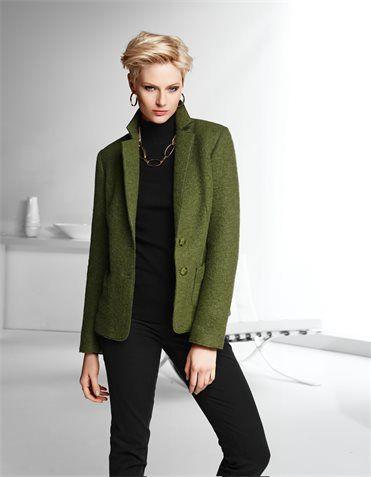 Moss Blazer Over A Black Base White Long Jacket Boiled Wool Jacket Long Sleeves Jacket