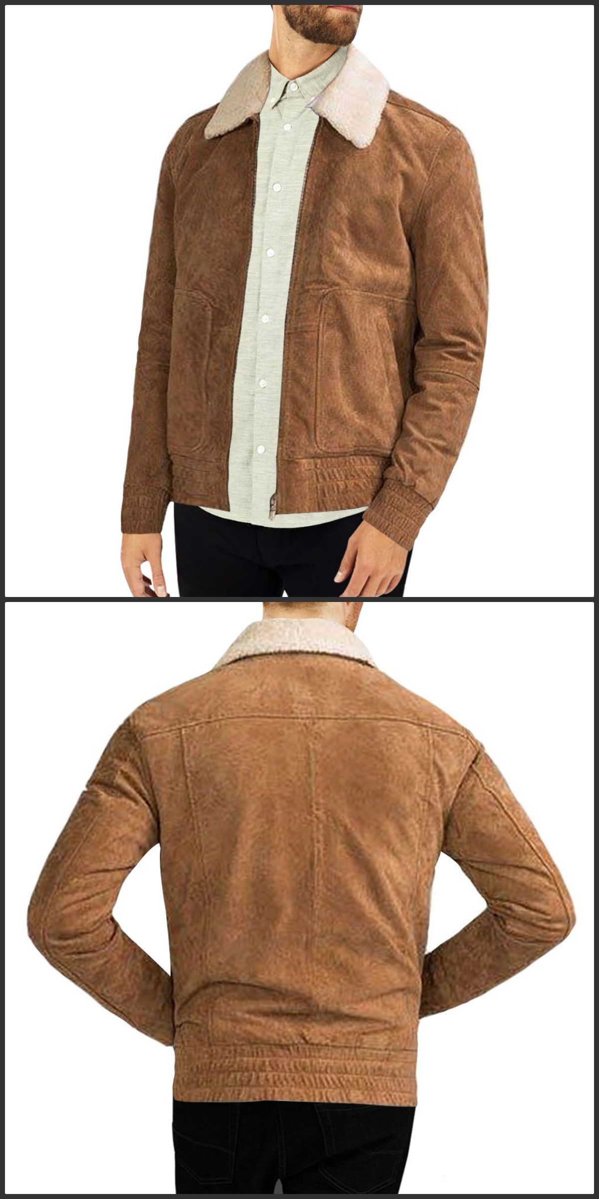 Skfs Western Style Bomber Suede Leather Jacket New Mens Fashion Leather Jacket Western Fashion
