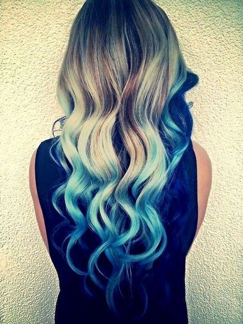 Ombre Dark Brown Hair With Blue Tips