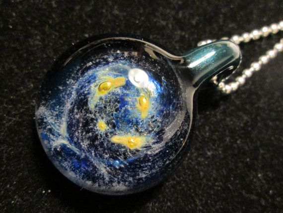 Glow in the Dark Glass Necklace  Deep Space by EighthPlanetGlass, $35.00