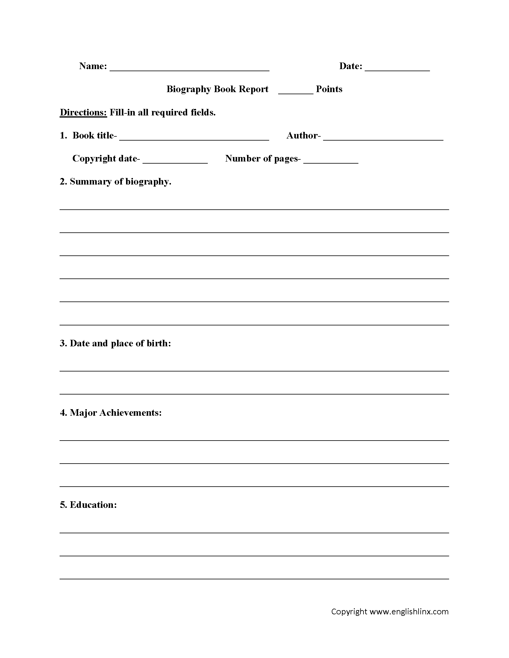 Biography Book Report Worksheets