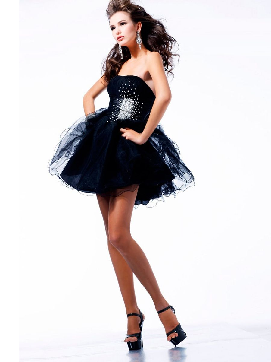 Luxurious Strapless Short A Line Dark Navy Satin And Tulle Party Dress With Diamantes Strapless Cocktail Dresses Prom Dresses Prom Party Dresses [ 1200 x 900 Pixel ]