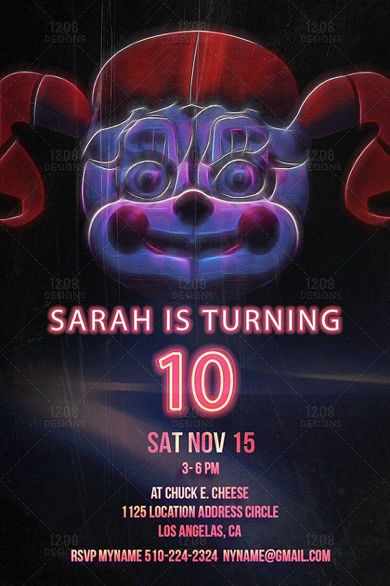 Five Nights At Freddys Sister Location Birthday Invitation