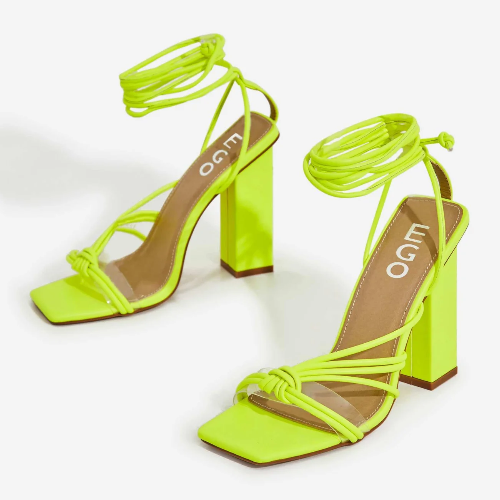 Neima Lace Up Square Toe Clear Perspex Block Heel In Lime