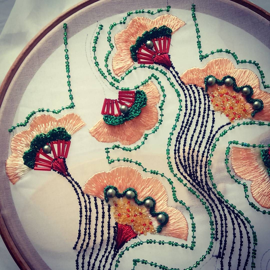 Practicing the pulling stitches lesage embroidery bead