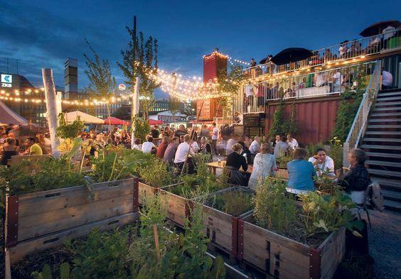 Frau Gerolds Garten Zurich Restaurant Bar Designer Shops And Urban Gardening Beer Garden Design Beer Garden Urban Garden